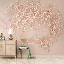 Beibehang personnalisé grande murale luxe élégance 3d stéréoscopique fleur rose or 3D papier peint pour salon TV toile de fond