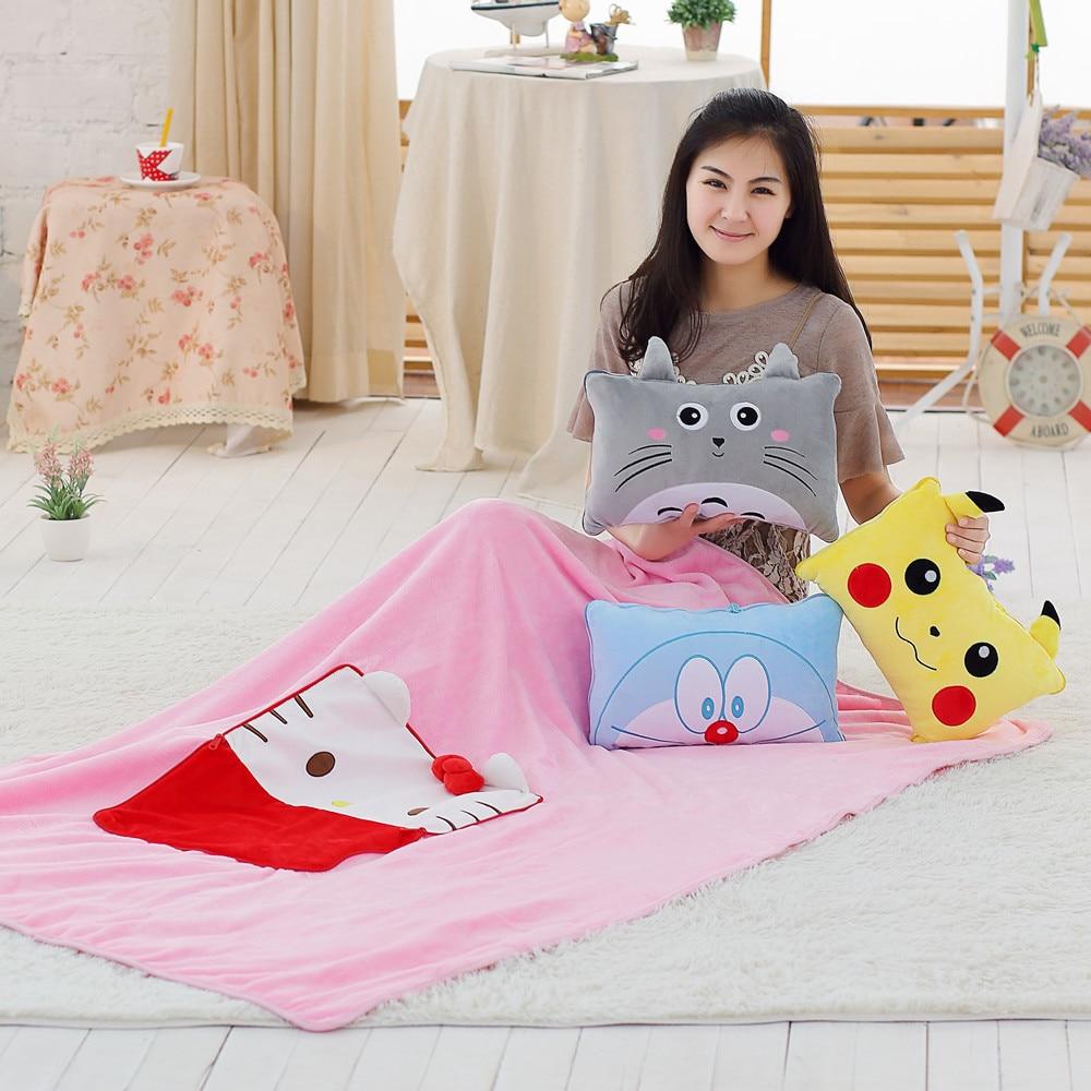 120 cm * 160 cm פיקאצ 'ו Totoro קטיפה רב תכליתי שמיכת פלנל חתול צעצועי שמיכת אנימה פיקאצ' ו לדחוף כרית כרית