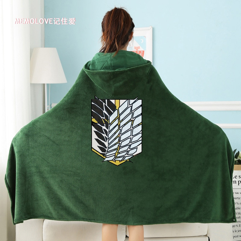 Anime Attack on Titan Blanket Cloak Shingeki No Kyojin Survey Corps Cloak Cape Flannel Cosplay Costume Hoodie with real photos