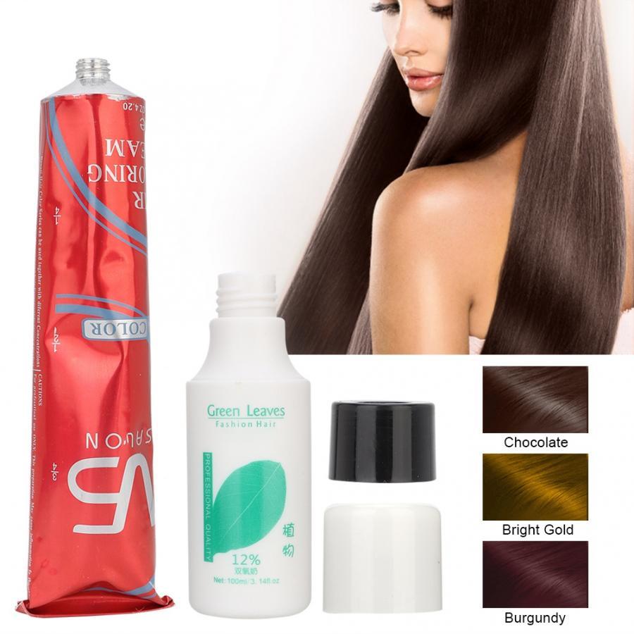 100ML Unisex DIY Hair Dye Salon Temporary Hair Coloring Dyeing Cream with 100ML Dioxygen Milk for Hair Care