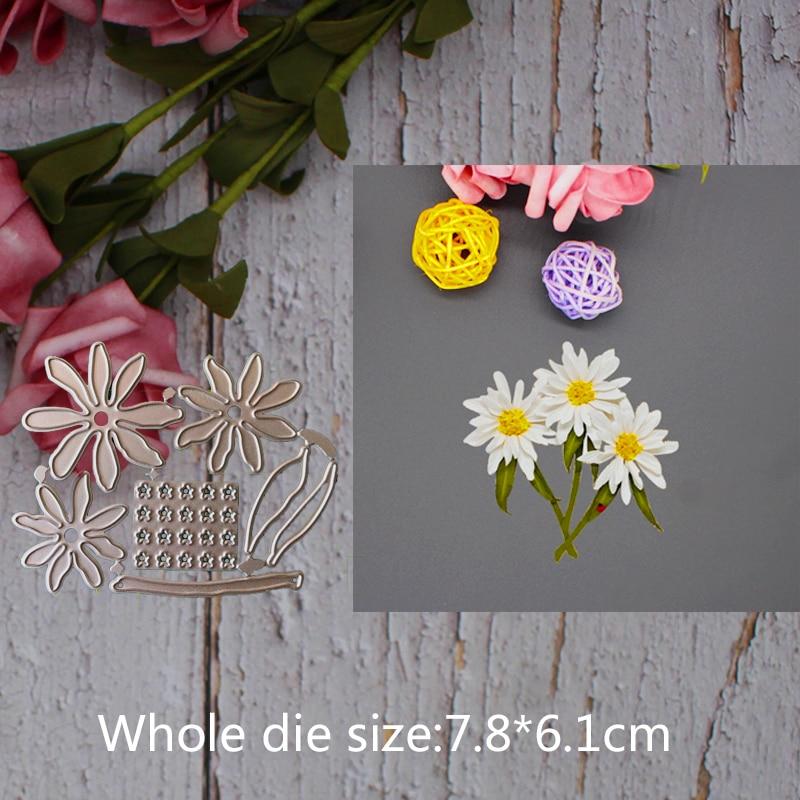 Metal steel frames Cutting Dies Daisy flower decoration DIY Scrap booking Photo Album Embossing paper Cards7.8*6.1cm