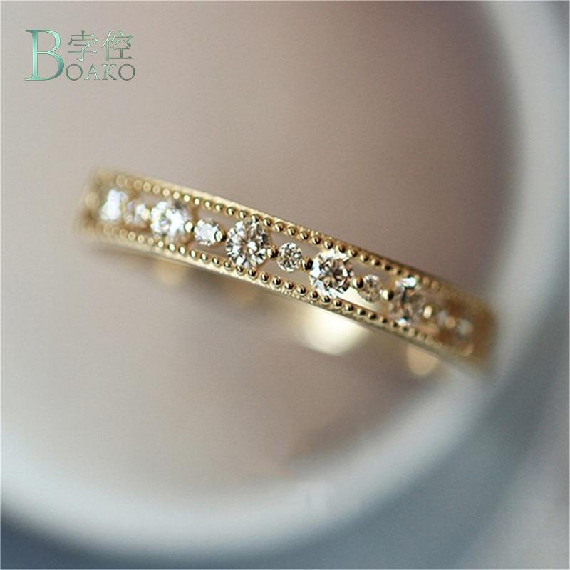 Anillo de princesa redondo de Color plateado delicado de BOAKO, anillos de boda de circón dorados de diseño hueco a la moda para mujer, joyería de fiesta