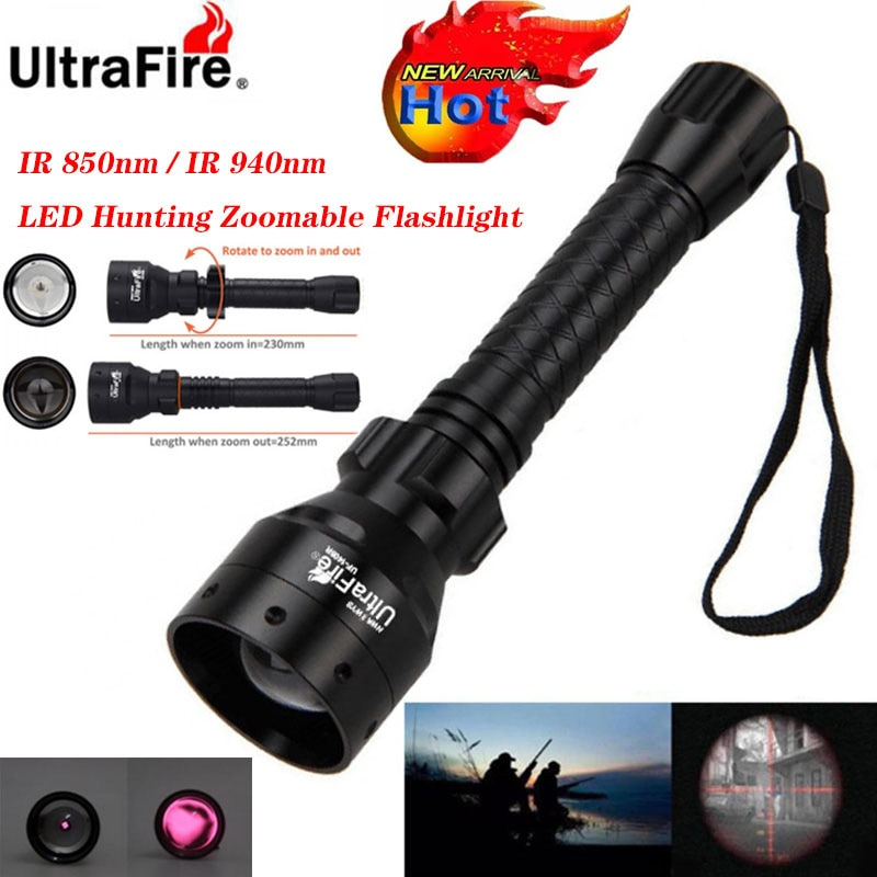 Ultrafire IR night vision Flashlight 10W 850nm 940nm LED Zoomable Luz infrared radiation tactical Flashlight hunting torch 18650 10w ir 940nm infrared night vision hunting flashlight led outdoor tactical weapon torch 18650 charger 3 rifle scope mount switch