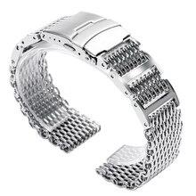 20/22/24mm Bracelet en acier inoxydable argenté Bracelet de montre en maille de requin Bracelet de poignet fermoir pliant avec sécurité hommes femmes HQ Cool luxe