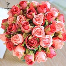 Ramo de novia Artificial, 12 cabezas, blanco, verde, rosa, azul, accesorios de boda, suministros de boda de flores para damas de honor