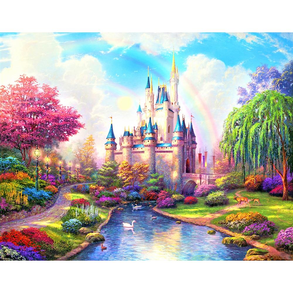 "5d Diy Diamond Painting Scenery ""Pink Fantasy Castle"" Diamond embroidery 3d Cross Stitch Embroidery Diamond mosaic Home Kit"