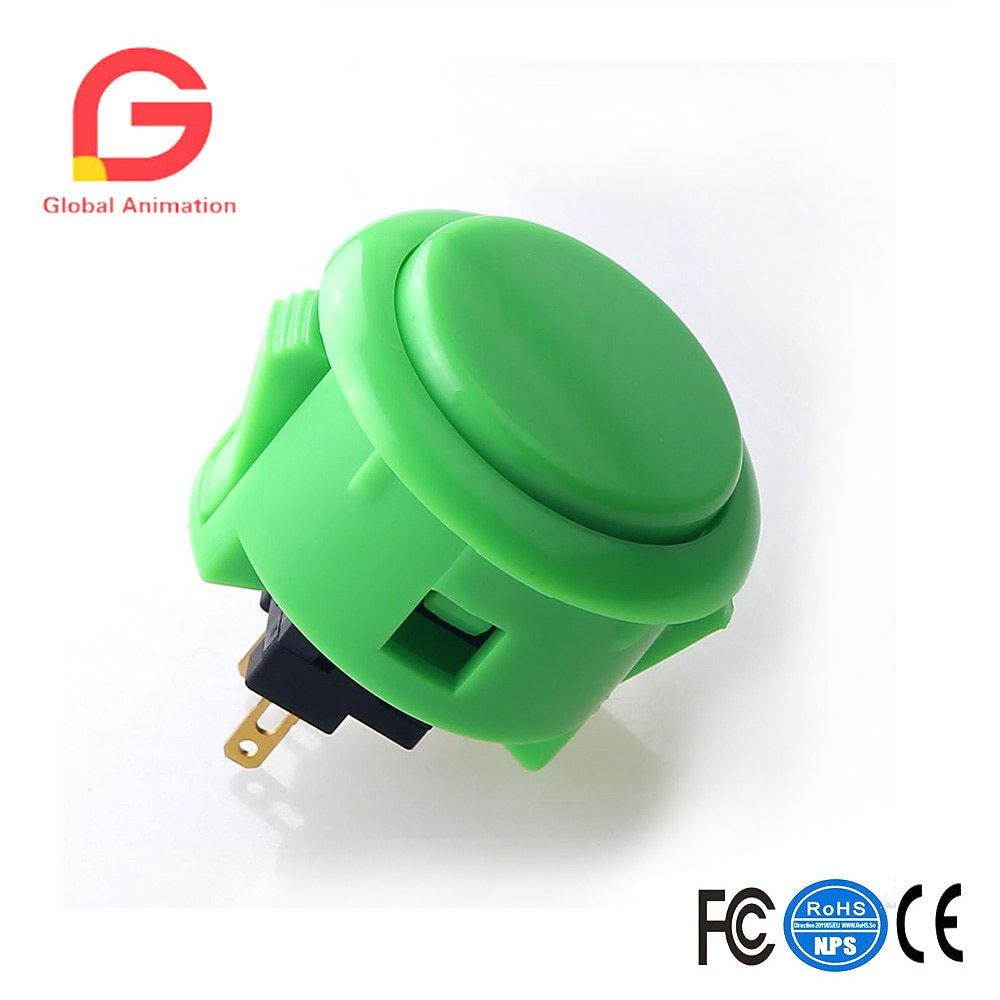 6 unids/lote OBSF-30 Arcade botón (Mad Catz SF4 torneo y Mayflash F300 Compatible)-verde