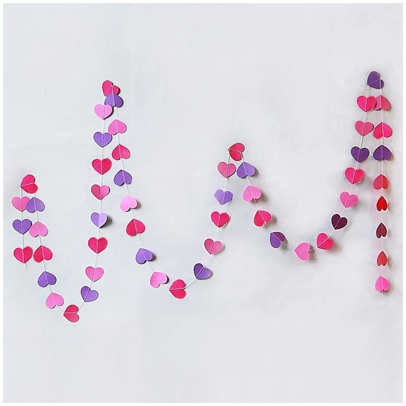 4 Uds 4M púrpura guirnalda de corazones de papel niño habitación fiesta boda accesorios pared hangings boda telón de fondo Decoración de cumpleaños
