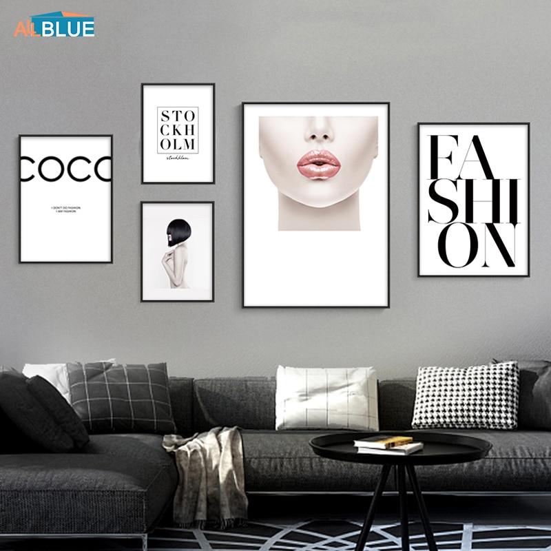 Carteles nórdicos e impresiones de labios, chica a la moda, cuadro sobre lienzo para pared de Estopa, cuadros de pared modernos para sala de estar, decoración del hogar