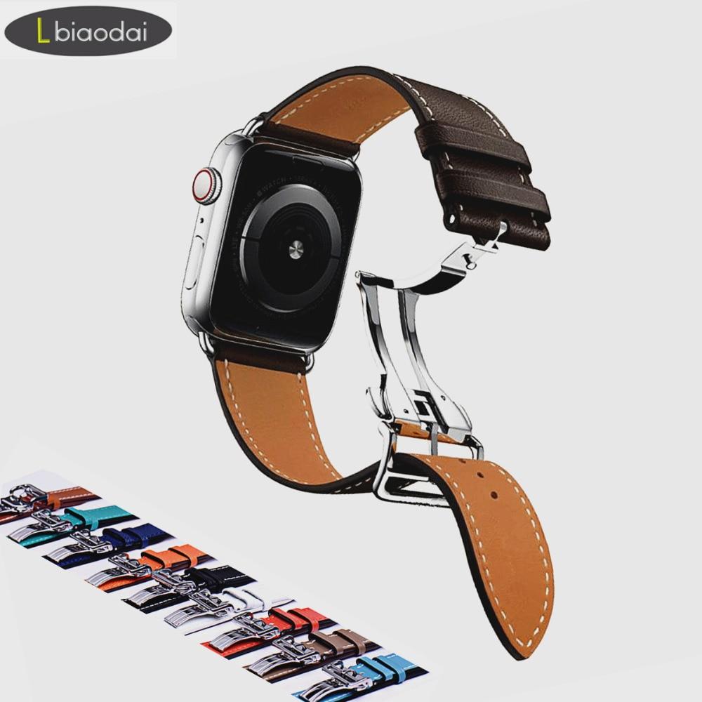 Correa de cuero para Apple watch Correa 42mm 38mm iwatch 4 banda 44mm 40mm pulsera Deployment hebilla reloj Correa reloj Hermes