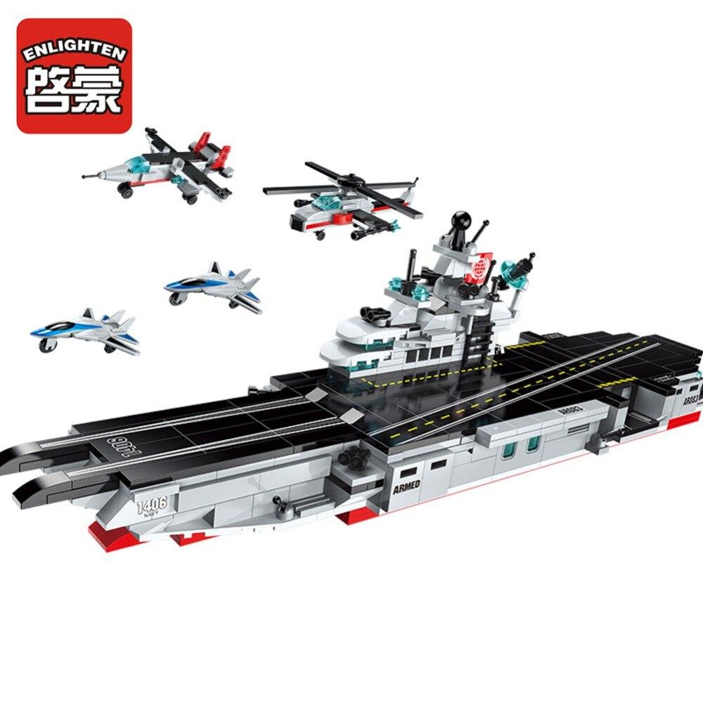 Enlighten bloque de construcción militar de zonas de combate 8 en 1 Conjunto de transporte de Batalla Naval buque de guerra Ladrillos educativos regalo de niño de juguete