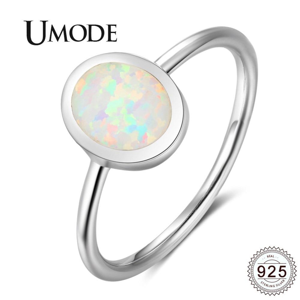 Женское кольцо UMODE, обручальное кольцо из стерлингового серебра 925 пробы с овальным натуральным огненным опалом, романтическое ювелирное из...