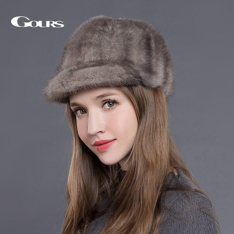 Gorros de Piel de visón Natural para mujer, gorros de invierno lujosa de moda, gorras de visera negras de alta calidad