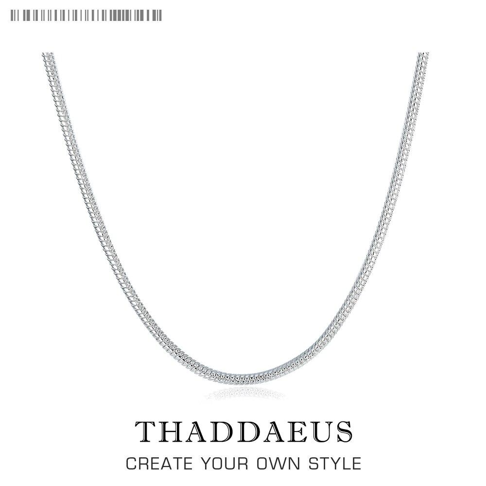Ожерелье с цепочкой-змейкой, 2 мм, 2017, Новое поступление, Ts Glam, модные украшения, в стиле Томаса, из стерлингового серебра 925 пробы, Bijoux, подарок...