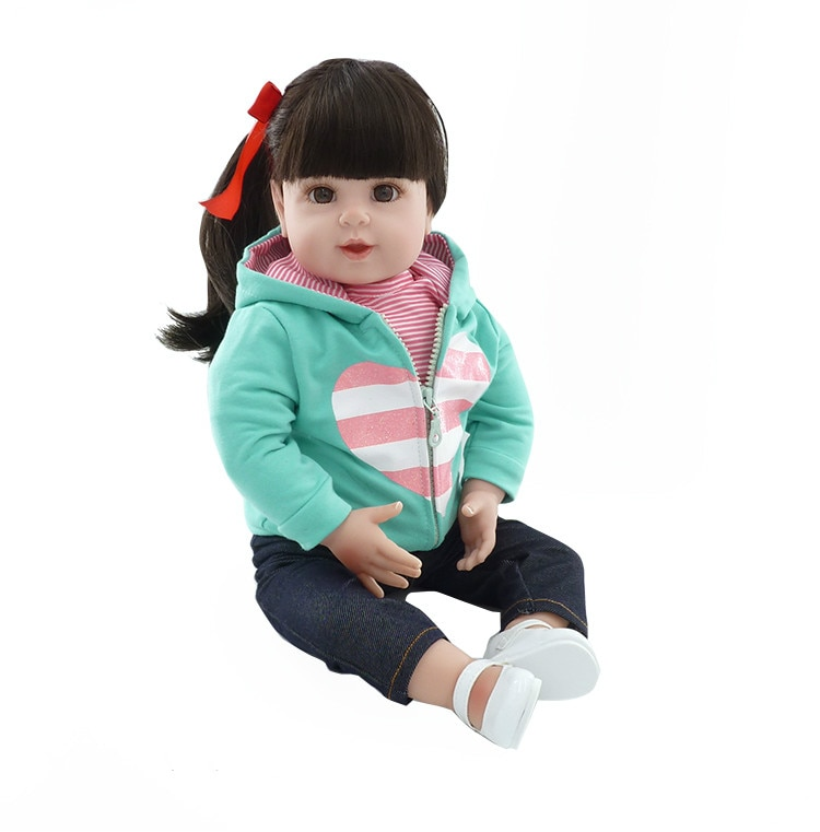 "20"" Silicone Vinyl Reborn Newborn Baby Doll Toys Accompany Long Hair Girl Lifelike Soft Doll for Birthday Gifts Play House Toy"