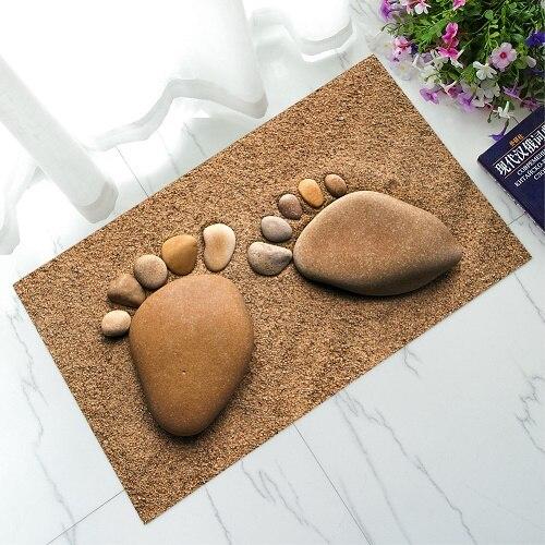 Nuevo alfombras de baño de goma felpudos de bienvenido 3D huella alfombra con diseño de piedras todo para cocina Sala dormitorio alfombras de piso Tapete