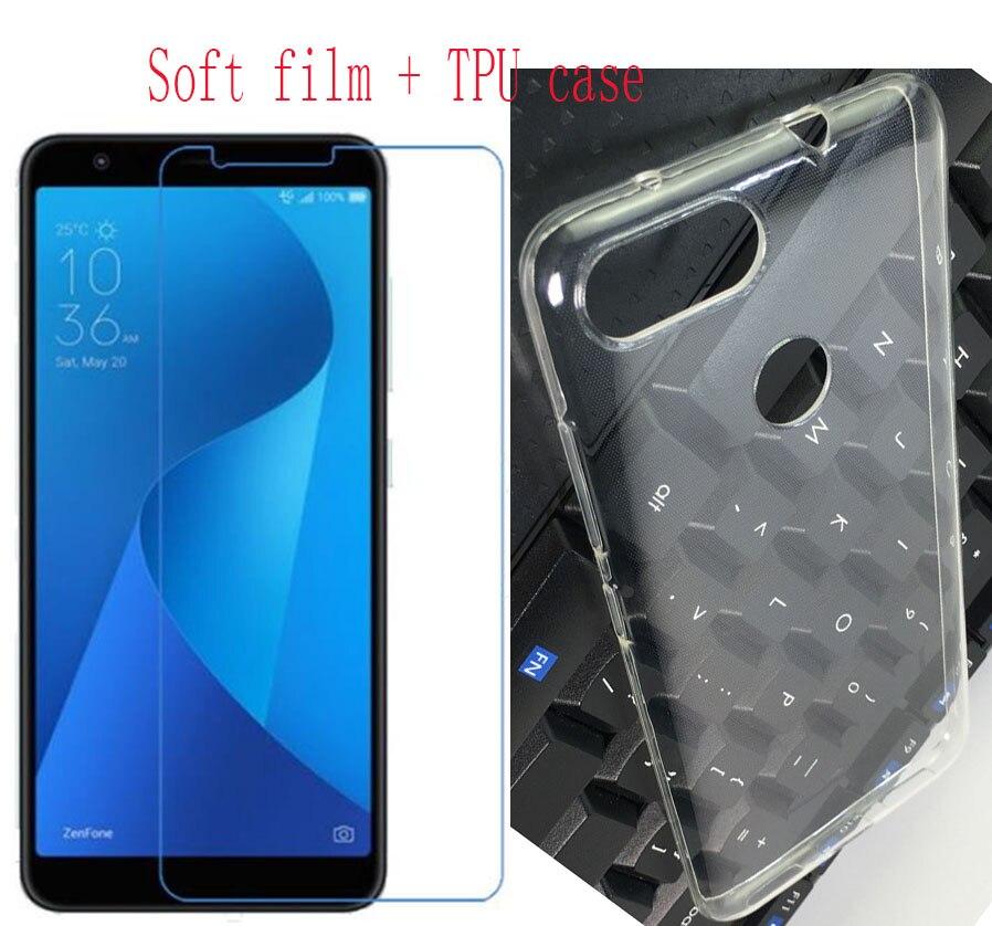 Para ASUS teléfono caso Zenfone Max Plus (M1) x018DC ZB570TL TPU funda transparente de silicona + película protectora de pantalla de vidrio templado