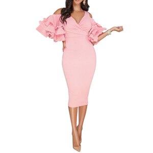 2018 New Women Sexy Summer V Neck Ruffles Petal Sleeve High Waist Off The Shoulder Slim Pencil Split Dress