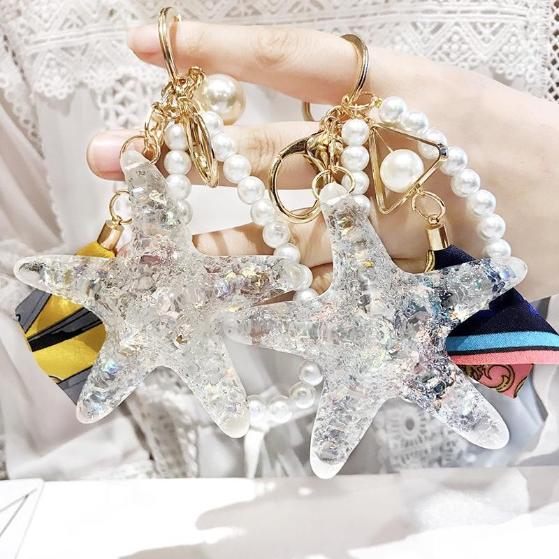 Hot New Cartoon Sea World Starfish Pearl Shell Keychain Key Chain Keyring Crystal Pendant Car Keychains Bag Pendant Women Gift