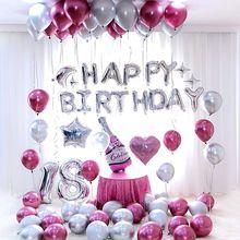26 stücke 30 ''Anzahl 18 silber Folie Luftballons Metallic Luft Globos Crown 18th Jahrestag glücklich geburtstag Party Dekorationen Lieferungen