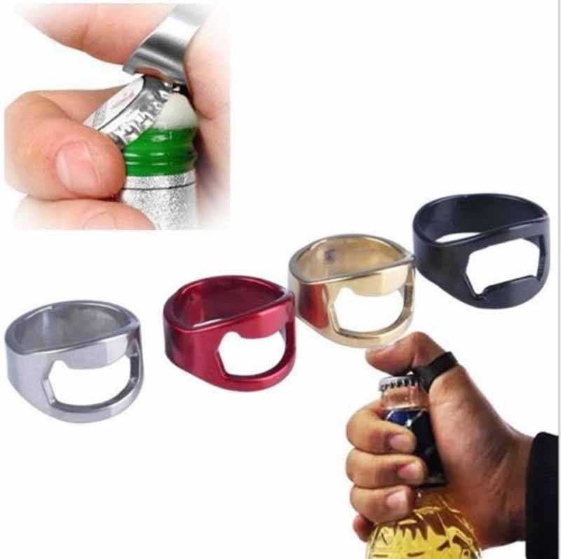 4 Colors Creative Stainless Steel Beer Openers Finger Ring Ring Shape Beer Bottle Opener Bar Tools