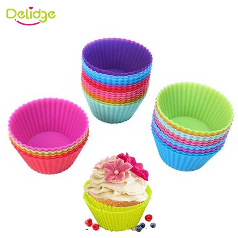Delidge 12 unids/lote molde silicona suave tarta Fondant decoración Chocolate Muffin molde de hornear de silicona molde de taza