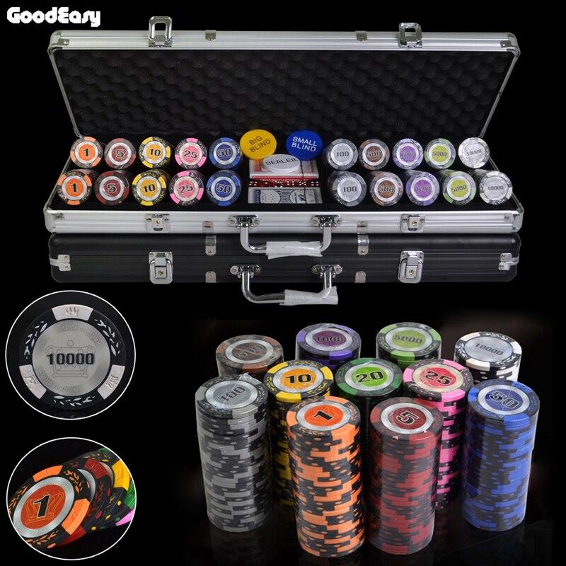 Venta Flash 500 unids/set 14g Casino arcilla trigo corona Poker Chips Deluxe Sets Texas holdem conjuntos de fichas + caja de Metal + regalo gratis