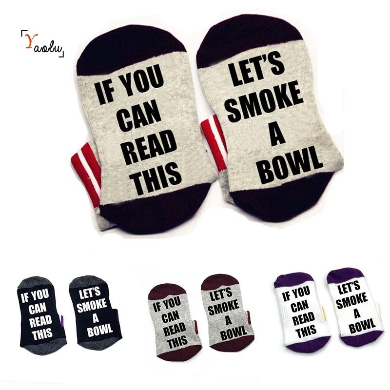 Si usted puede leer estos calcetines Its smoke a bowl calcetines de algodón cómodos hombres mujeres calcetines de tobillo con dichos lindos