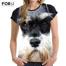 FORUDESIGNS 3D chien Schnauzer visage imprimé femmes t-shirt mode musculation t-shirts marque Designer à manches courtes hauts vêtements