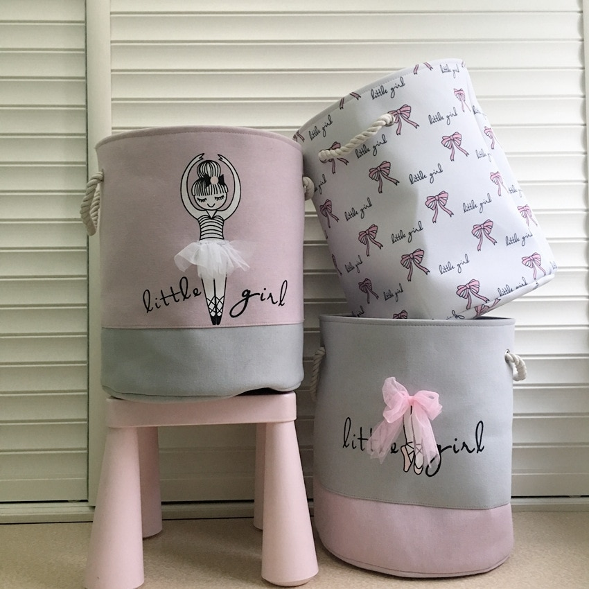 Pink Ballet Girl Bow Print Dirty Clothes Cotton Basket Home Organizer Stand Laundry Basket Home Storage Box Toys Storage Basket