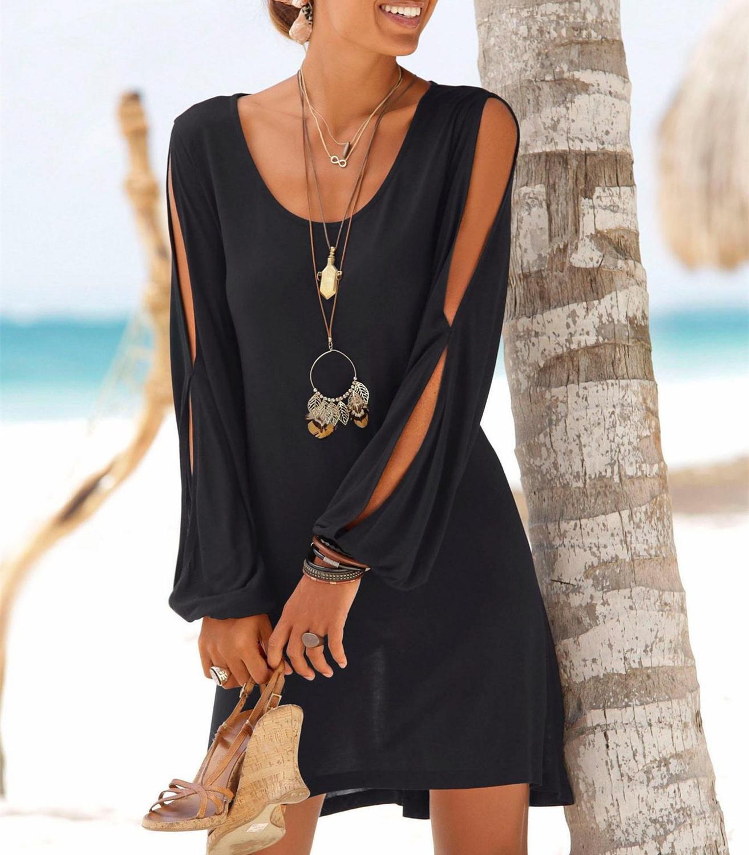 Vestido de playa Casual negro de cinco colores para mujer, minivestido liso de manga calada con cuello redondo, ropa de verano para mujer 2019