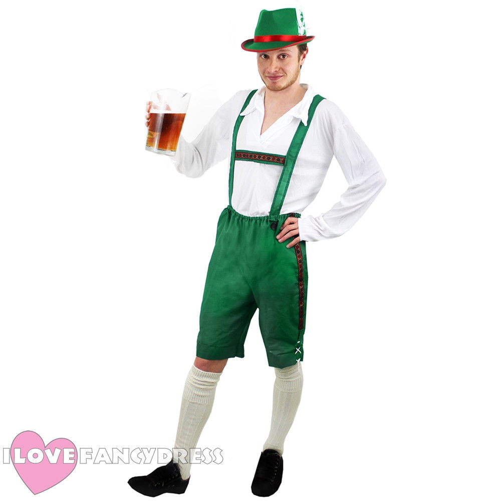 BAVARIAN cerveza hombre LEDERHOSEN disfraz de Oktoberfest vestido de lujo COSPLAY de fiesta hombres alemán BROWN traje I LOVE FANCY DRESS