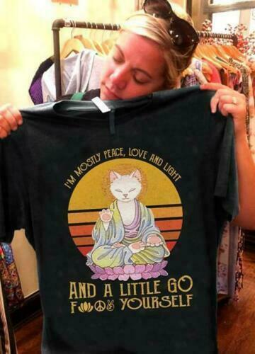 Cat Vintage IM Mostly Peace Love Light And A Little Go Men T Shirt Black S 6Xl