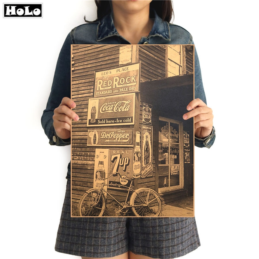 Tienda Vintage foto carteles de cine clásico edificio decorativo Café Bar pinturas Retro nostálgico de papel kraft GGA06 42x30cm