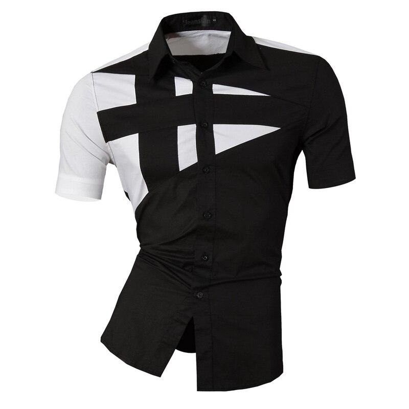 Camisas de verano jeissian con características, camisas informales de tela vaquera para hombre, camisa de color sólido, camisas informales ajustadas de manga corta para hombre Z002