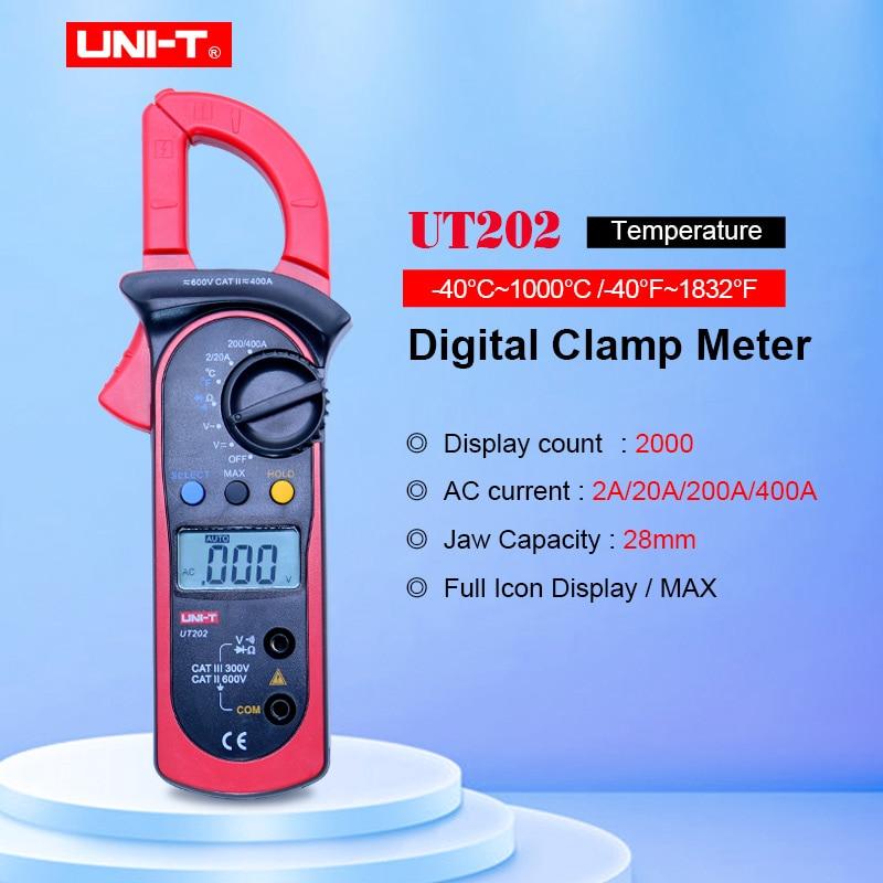 Multímetro Digital con abrazadera UT202 de alta precisión UNI-T ohmios DMM DC AC voltímetro AC amperímetro