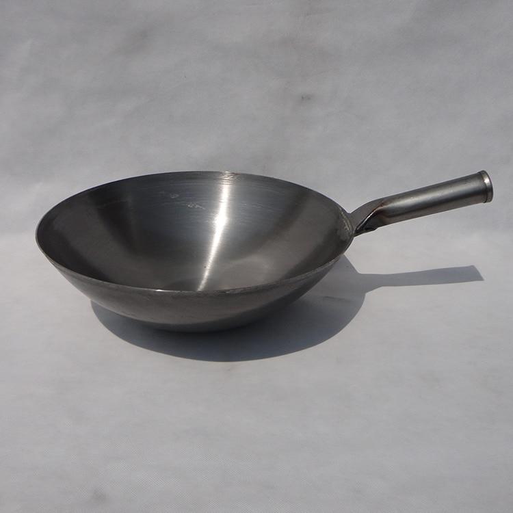 مقلاة تقليدية من الحديد, وعاء قديم الطراز من الحديد المكرر مقلاة صينية دائرية الشكل