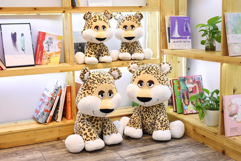 Altura de sentado 35 cm/50 cm lindo Leopardo de peluche de animales de peluche juguetes de peluche para bebés regalos de cumpleaños suministros de decoración para el hogar