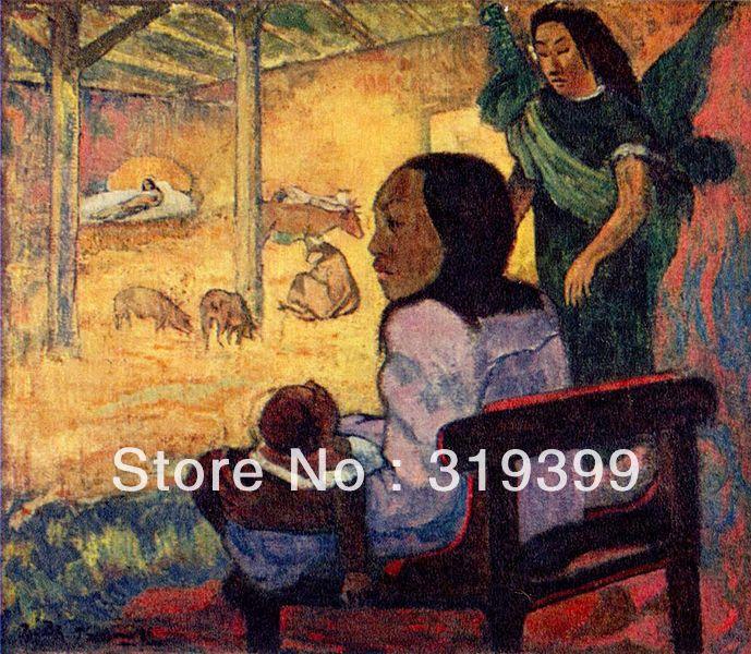 Oil Painting Reproduction on Linen canvas,Bebe,ou Naissance du Christ a la tahitienne by paul gauguin,handmade,museum quality