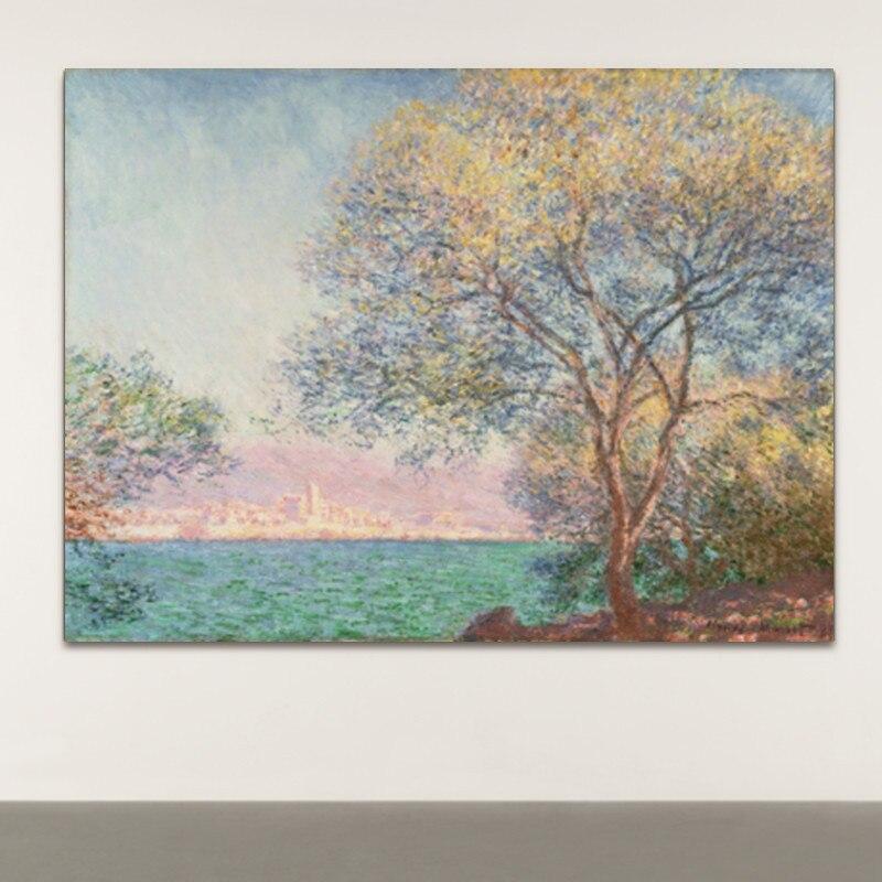 Pintura em tela impressão abstrata paisagem claude monet antibes na parte da manhã parede arte imagem para sala de estar decoração casa