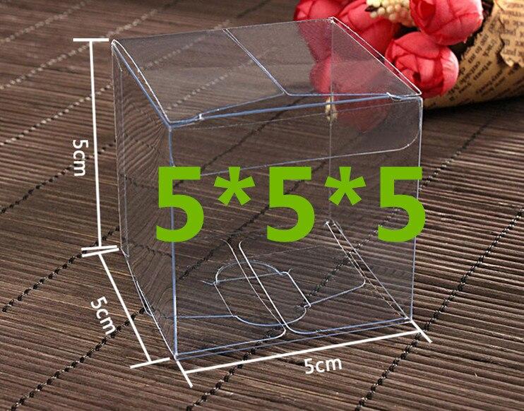100 Uds 5*5*5cm transparente pvc transparente a prueba de agua cajas de embalaje de plástico, caja de almacenamiento para alimentos/joyería/caramelo/regalo/cosméticos