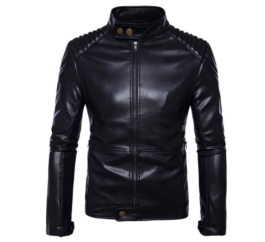 الوقوف طوق رجالي سترة جلدية سليم دراجة نارية معطف جلد الرجال السترات الملابس شخصية مرحلة الشارع موضة الأسود