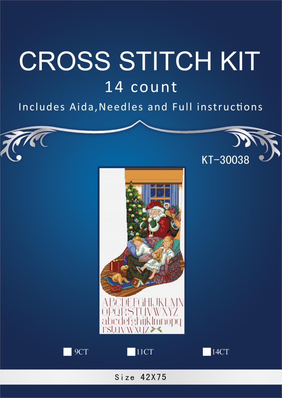 Oneroom, calcetines de Navidad con nieve y pájaros, bordado, manualidades, costura, artes sin imprimir, Kits de punto de cruz DMC DIY, calidad 22