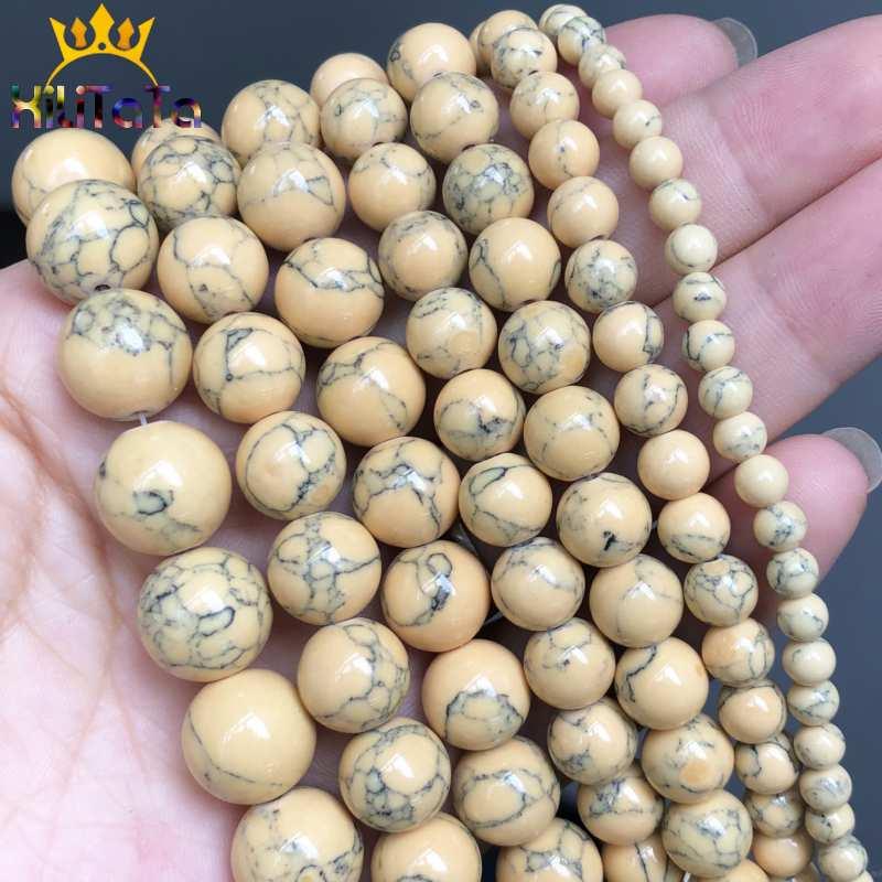 Cuentas de turquesa amarilla sintética, Cuenta de piedra redonda suelta para fabricación de joyería DIY, pulsera, collar, accesorios 15 4/6/8/10/12mm