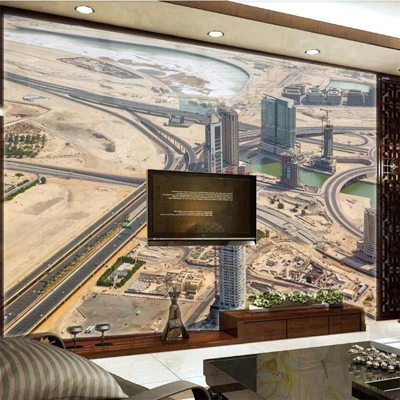 Papel pintado verde personalizado de pared para oficina de fotografía de Río edificio alto edificio de Dubai wellyu Gran mural