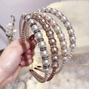 Diamond Pearls Headbands For Women Female Elegant Rhinestones Hairband Girls Hair Accessories Hair Hoop Headwear Fashion XL088