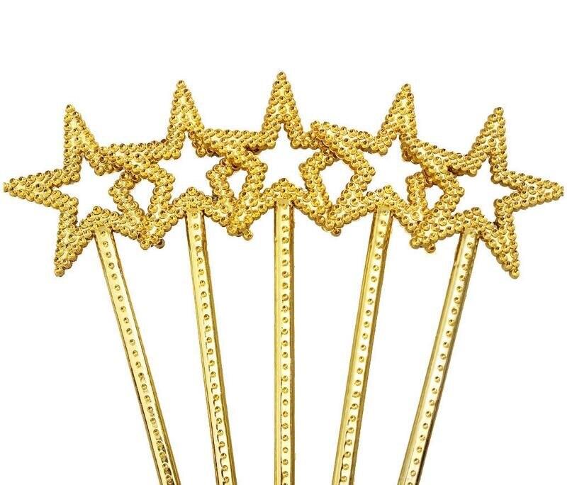 Fada do Anjo da Estrela da princesa Varinha varinhas Mágicas Partido Goody Bag Favor Fancy Dress Up Traje Cosplay adereços flâmulas Ouro Prata