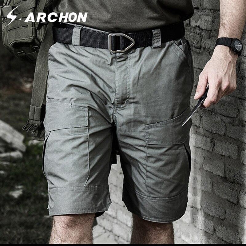 S. archon eua verão à prova dwaterproof água militar solto algodão shorts homens casual tático carga respirável shorts cintura elástica shorts do exército