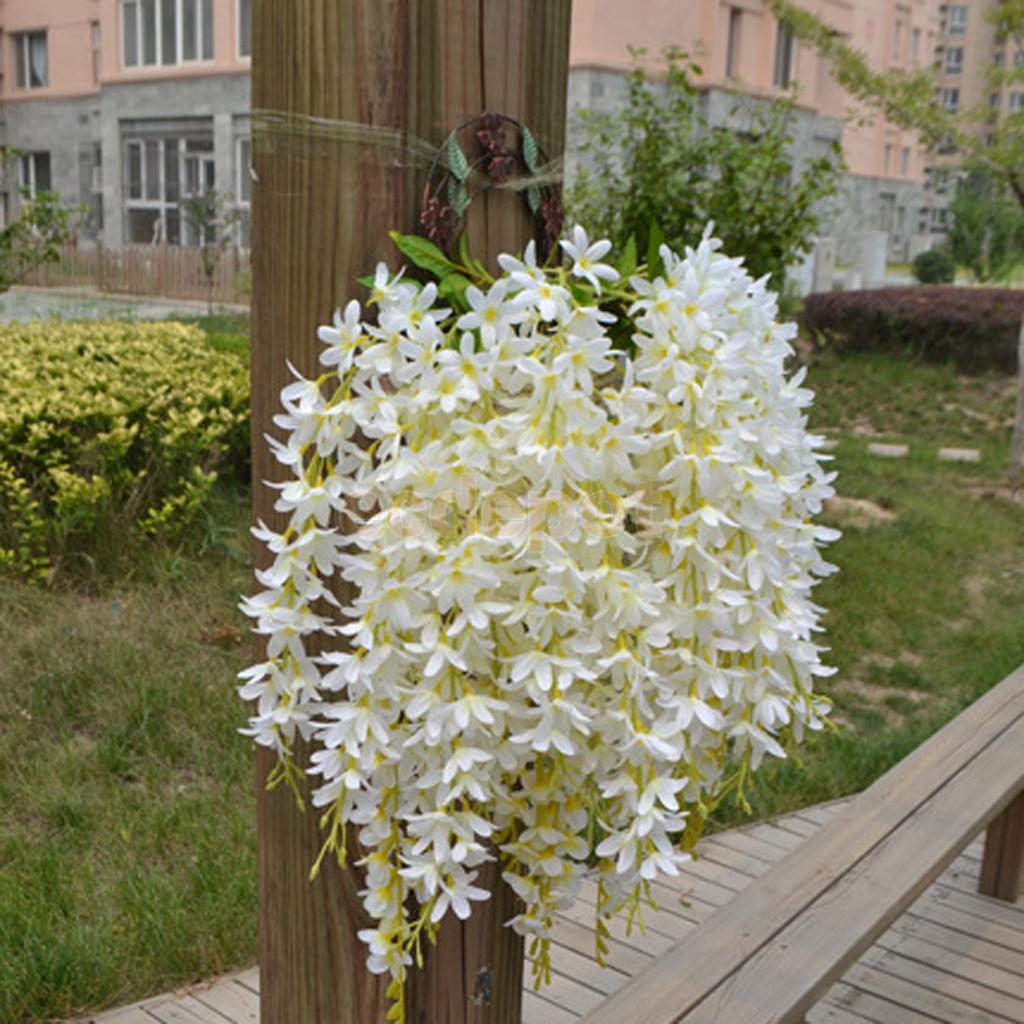 4 Uds manojo de seda colgando plantas Artificial flor Lila guirnalda decoración blanca