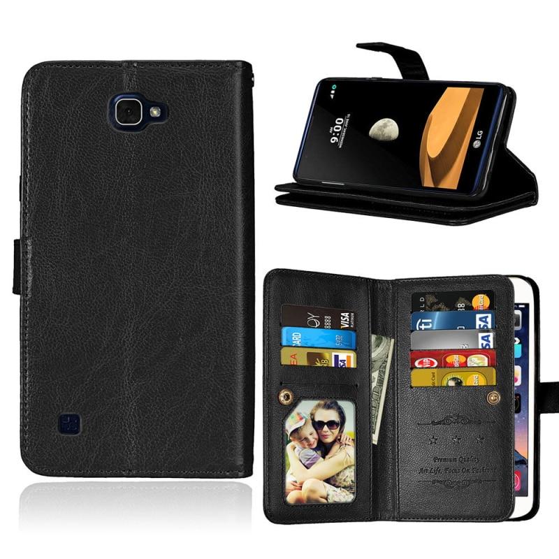 """Lujosa Funda de teléfono tipo billetera de cuero con 9 ranuras para tarjetas, Funda con soporte abatible para LG X5 5,5 """"X Max K240 5,5"""" X Style K200DS 5,0 """"Funda Coque"""